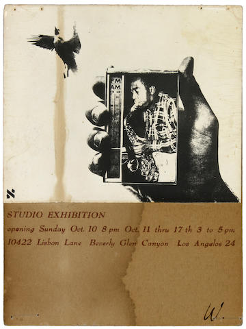 Wallace Berman (American, 1926-1976) Studio Exhibition Announcement, 1965 5 3/4 x 4 1/2in (14.6 x 11.4cm)