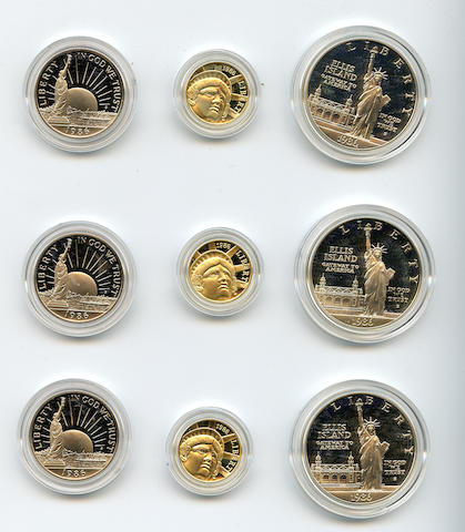 1986 3 Piece Statue of Liberty Proof Set