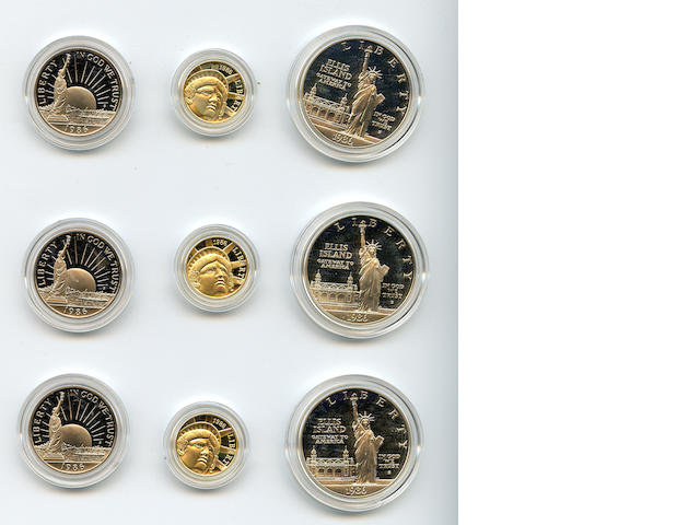 1986-W 3 Piece Statue of Liberty Proof Sets in Gold and Silver (3)