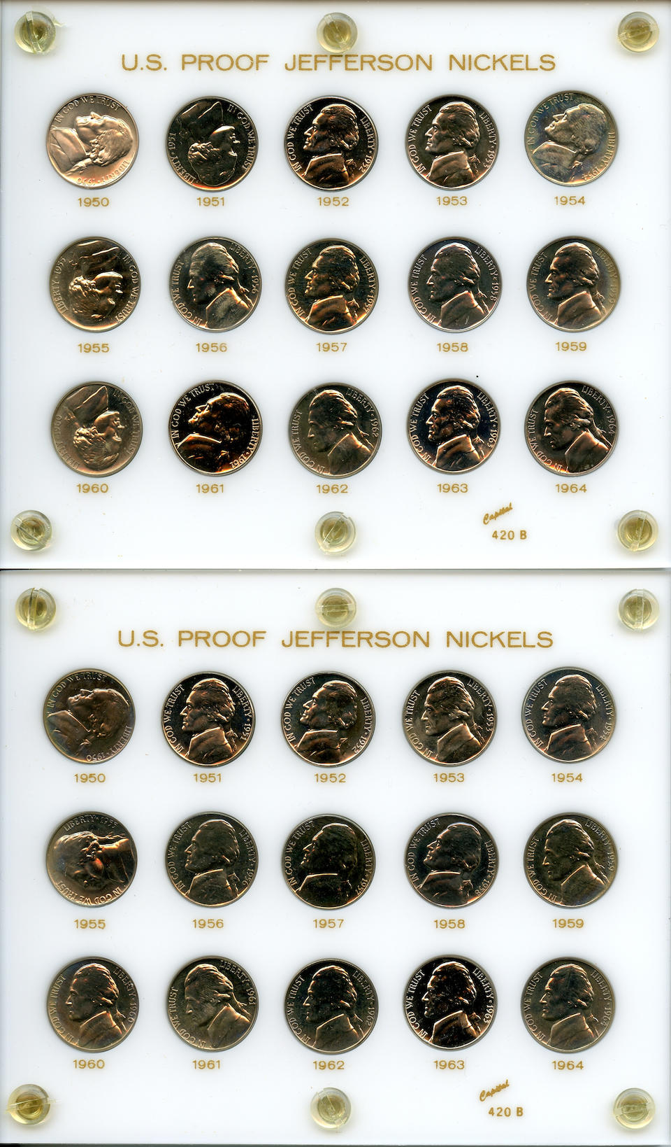 Proof Jefferson Nickel Sets, 1950-1964 (5)