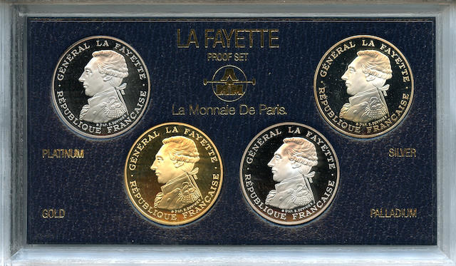 France, 1987 4 Piece La Monnaie De Paris Lafayette 100 Franc Proof Set in Platinum, Silver, Gold and Palladium