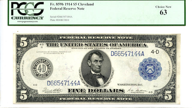Fr. 859b 1914 $5 Cleveland Federal Reserve Note Choice New 63 PCGS