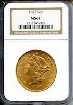 1897 $20 MS62 NGC
