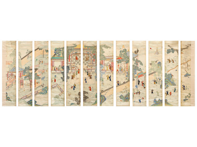 A set of twelve Chinese embroidered hanging scrolls of figures in a country manor 19th century (staining and losses)