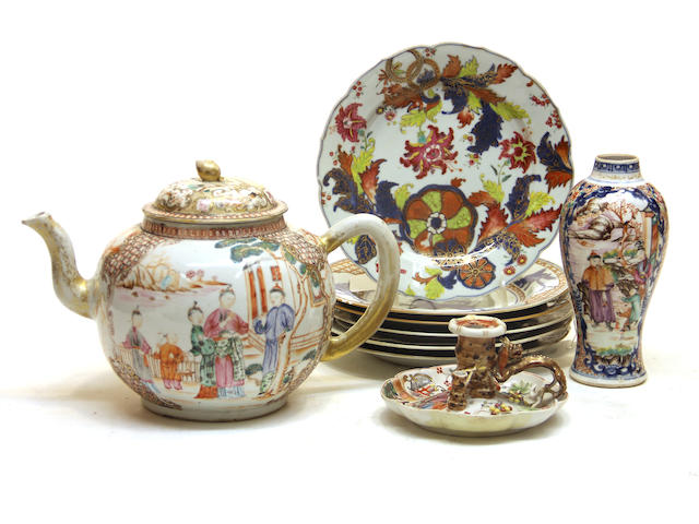 Nine pieces of Chinese export polychrome decorated porcelain late 18th century