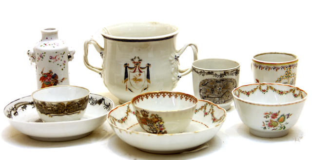 Nine pieces of Chinese export armorial porcelain late 18th century