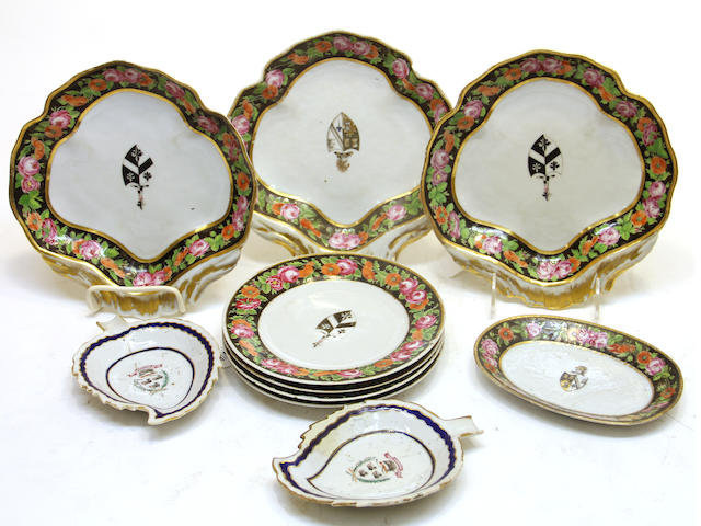Ten pieces of Chinese export armorial porcelain late 18th/early 19th century