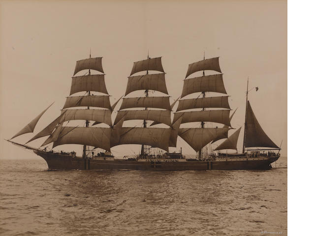 A group of three silver bromide images of ships and the sea (one of the sea, andother of a 4 masted ship and the last of the ship's rigging) Attributed to Morris Rosenfeld