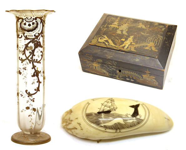 A japanned box, french gilt decorated tall vase and carved whale scrimshaw and a seascape watercolor