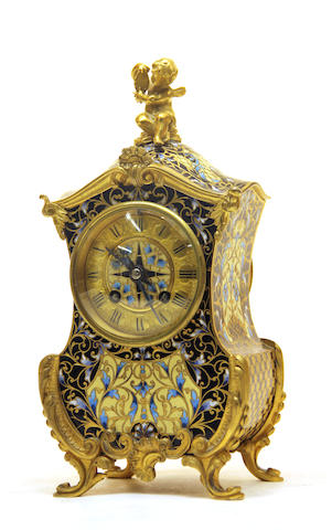 A French gilt bronze and champlevé enamel clock retailed by Theodore B. Starr, New York late 19th century