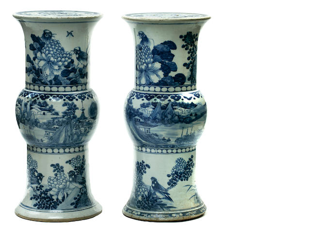 A pair of Chinese blue and white porcelain garden seats