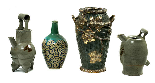 Four Japanese or Japanese inspired glazed ceramic vessels 20th century