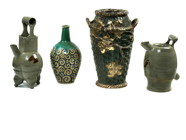 4 various Japanese and Austrian vases