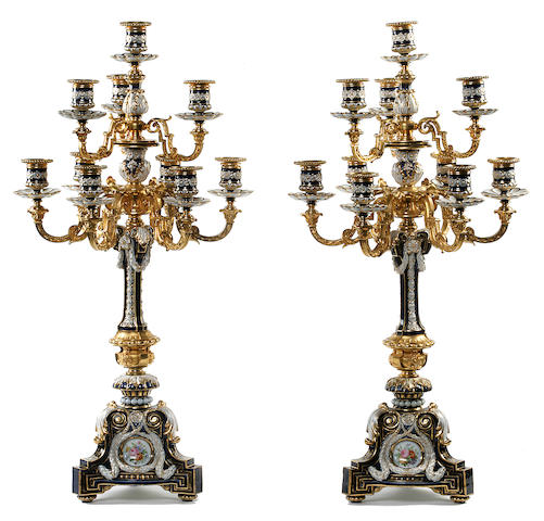 A pair of monumental gilt bronze mounted porcelain ten light candelabra probably Russian, second half 19th century