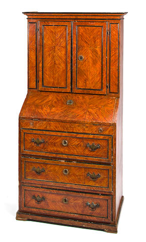 An Italian Neoclassical faux bois paint decorated bureau cabinet