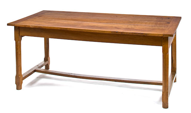 Early 19th c. Merisier (wild cherry) farm table with shaped legs and two drawers