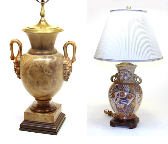 An Imari style porcelain lamp and Neoclassical style tinted alabaster lamp