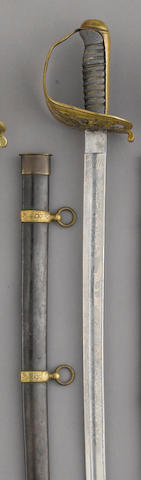 A brass-hilted CIvil War era non-regulation foot officer's sword