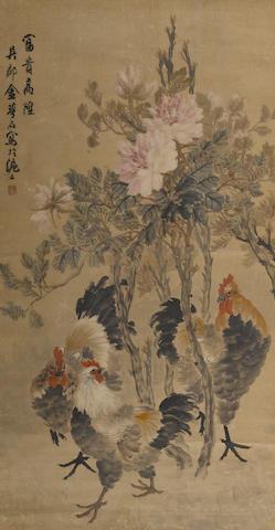 Jin He (Jin Mengshi, b. 1869-1944) two scrolls: herons, roosters