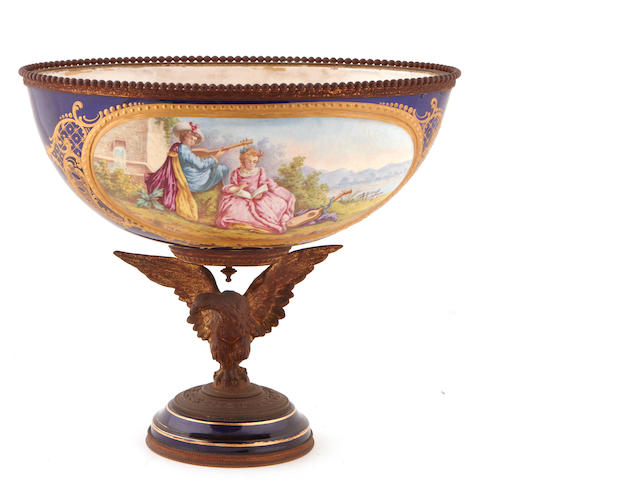 A Sèvres style earthenware gilt bronze mounted center bowl
