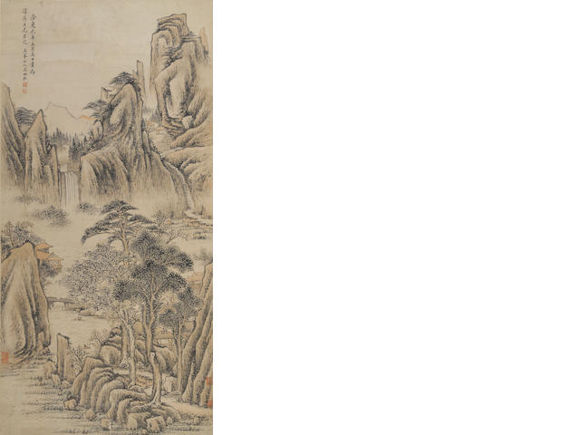 Various Artists Two Landscape paintings, hanging scroll