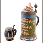 A very large Mettlach earthenware pewter mounted stein