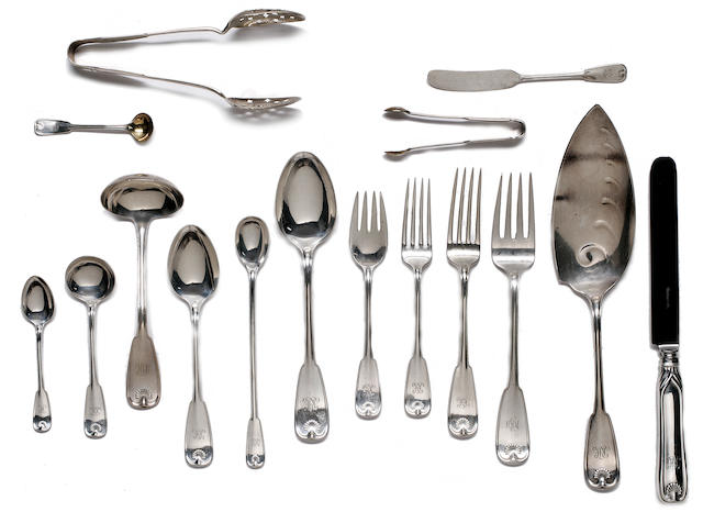 Extensive American sterling silver flatware service manufactured by Tiffany & Co., Palm Pattern each engraved with a script monogram
