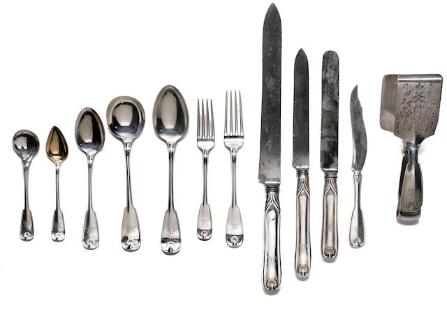 Extensive American sterling silver flatware service manufactured by Tiffany & Co.,  Palm Pattern each engraved with a script monogram capital M verticle sides (late 19th c.)