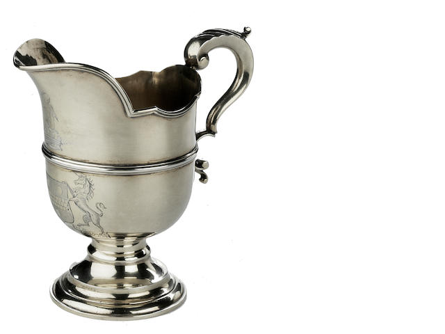 A George III sterling silver helmet form pitcher<BR />John Denwall, London 1773