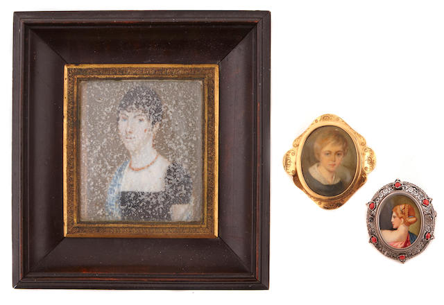 A group of three framed portrait miniatures