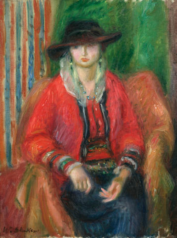 William Glackens (American, 1870-1938) Woman in Red Jacket  24 1/4 x 18 1/4in