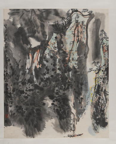 Li Huasheng (b. 1944) Landscape, ink and color on paper, hanging scroll