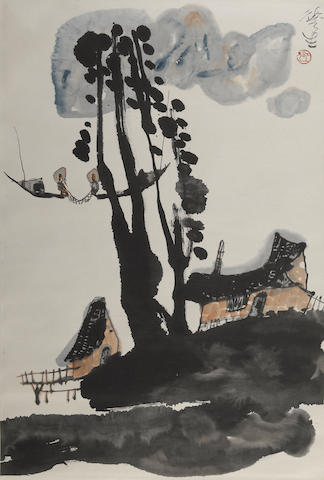 Li Huasheng (b. 1944) Fisherman, ink and color on paper, hanging scroll