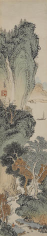 Pu Ru. Landscape and Calligraphy, one framed and glazed one hanging scroll