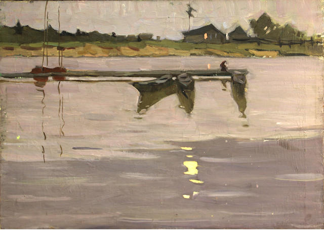 V. Astakhov (Russian, 20th century) Russian village on waterfront 21 3/4 x 29 3/4in