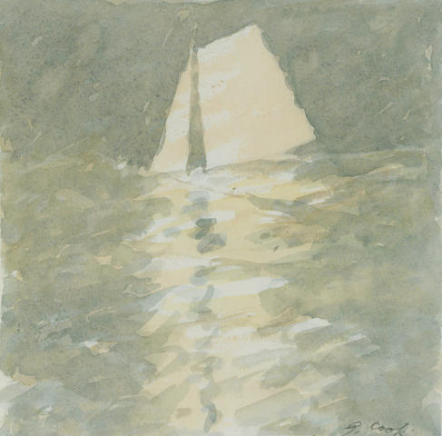 Gordon Cook (1927-1985) Untitled (Sailboat); Untitled (Point Richmond tower), c. 1980 (2) 7 x 7in (17.8 x 17.8cm); 10 x 13 1/4in (25.4 x 33.7cm)