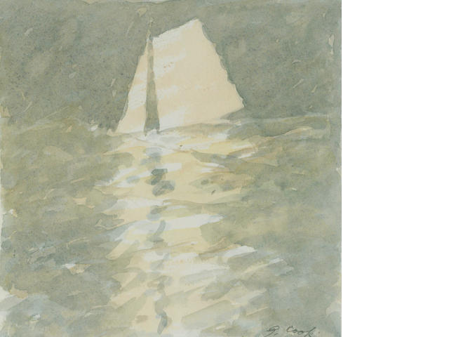 Gordon Cook (American, 1927-1985) Untitled (Sailboat); Untitled (Point Richmond tower), c. 1980 (2) 7 x 7in (17.8 x 17.8cm); 10 x 13 1/4in (25.4 x 33.7cm)