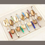 A group of American  sterling silver and enamelled flatware Late 19th - early 20th century