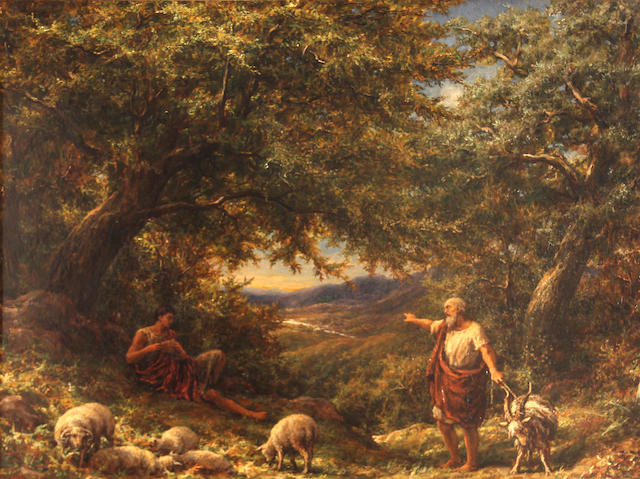 William Linnell (British, 1826-1906) Shepherds at rest 18 x 24in