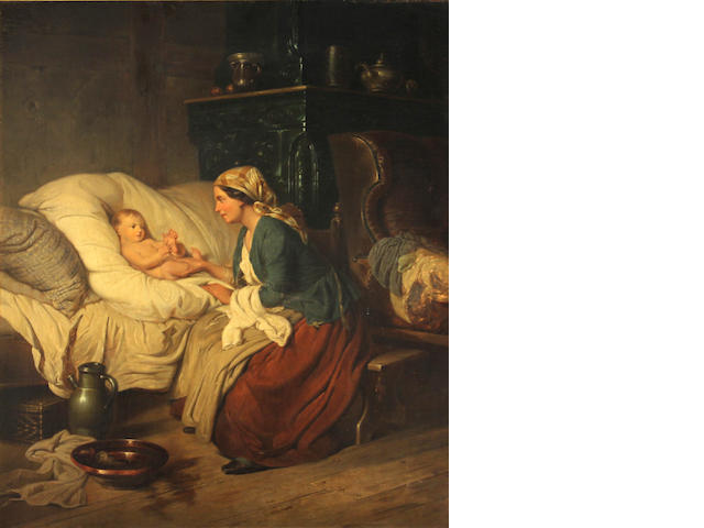 Dutch School (19th Century) After the baby's bath oil on canvas 18 1/4 x 15in