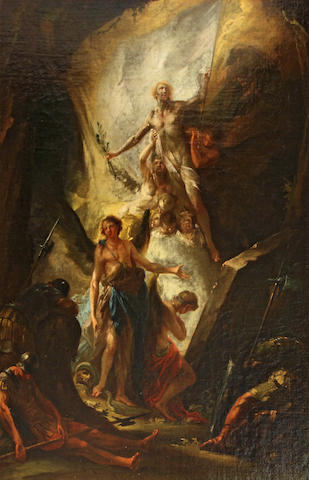 Circle of Christian (Johann C. Thomas) Winck (German, 1738-1797) Christ rising from the tomb 30 x 20 1/2in