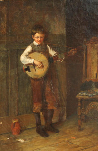 Harry Brooker (British, 1848-1940) The Banjo Player signed and dated '1888' (or 1886) (lower right) oil on canvas 21 1/4 x 14in