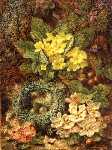 Oliver Clare (British, 1853-1927) A still life with flowers; Bird's nest on a mossy bank (2) first signed and dated '1914' (lower right); second signed (lower right) each oil on board each 11 3/4 x 9in