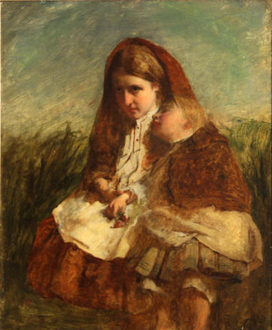 Attributed to Charles Baxter (British, 1809-1879) The sisters oil on canvas 14 1/2 x 12in