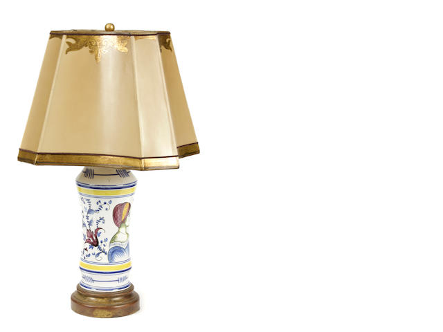 An Italian maiolica style drug jar, now mounted as a table lamp