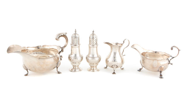 An assembled group of Georgian  sterling silver  hollowware  18th century