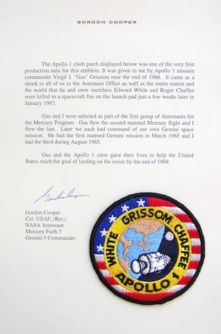 "GORDON COOPER'S APOLLO I CREW EMBLEM. A GIFT FROM ""GUS"" GRISSOM.  Cloth crew mission emblem,"