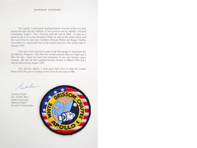 "GORDON COOPER'S APOLLO I CREW EMBLEM. A GIFT FROM ""GUS"" GRISSOM.<BR /> Cloth crew mission emblem,"