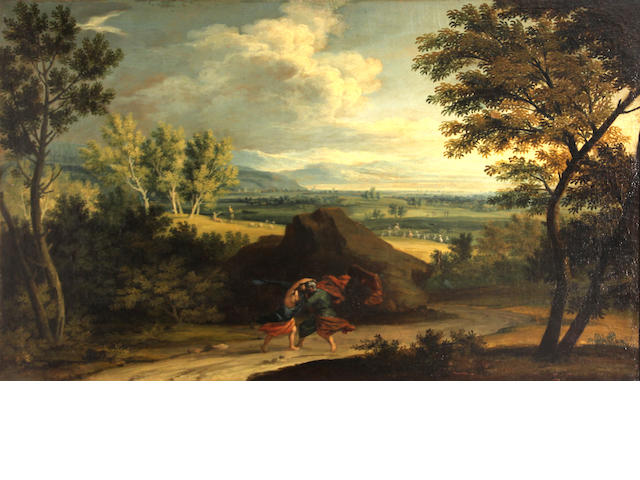 French School, 18th Century  An extensive landscape with Jacob wrestling the angel in the foreground 20 1/2 x 31 3/4in