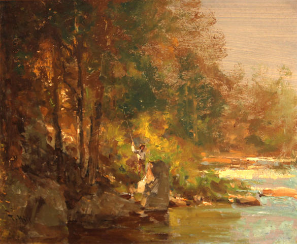 Manner of Thomas Hill *****SCOT LEVITT TO INSPECT***** Fisherman by a stream 11 x 13 3/4in